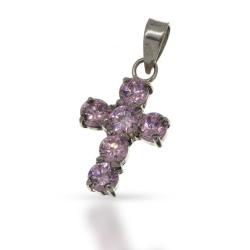 925 Sterling Silberanhänger - Kreuz mit Cubik...