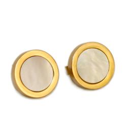 Edelstahlohrring - Perlmutt Gold