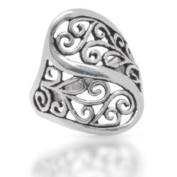 925 Sterling Silberring - florales Muster