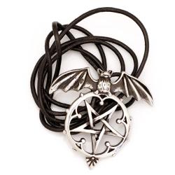 Edelstahlanhänger  Fledermaus mit Pentagramm Stahl...