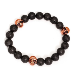 Lava - Armband 10 mm Ball 3 Module aus Edelstahl rosegolden