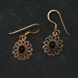 Bronzeohrringe - Blumen- / Sonnenmuster