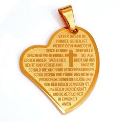 Edelstahlanhänger - Herz mit Vater Unser (deutsch) Gold