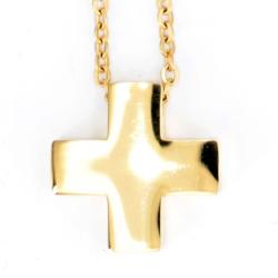 Edelstahlarmkette mit Edelstahlanhänger Kreuz  golden