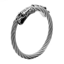 Edelstahlarmreif mit Drachenkopf Armreif: Stahl - Kopf:...