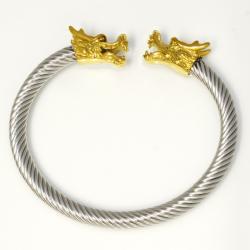 Edelstahlarmreif mit Drachenköpfen golden