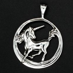 925 Sterling Silberanhänger -  Magische Einhorn