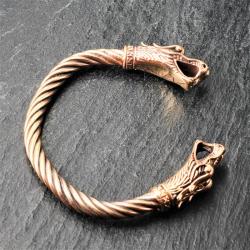 Bronze Armreif für Männer Wolf