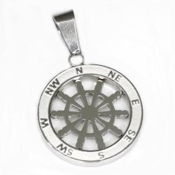 Edelstahlanhänger - Kompass Steuerrad