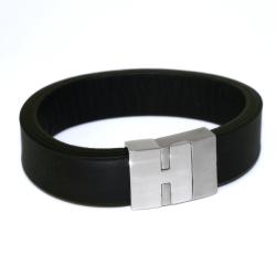 Edelstahl - Leder - Armband Schwarz