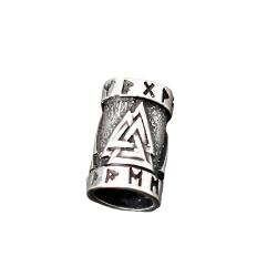 925 Sterling Silber Bartperle - Valknut mit Runen