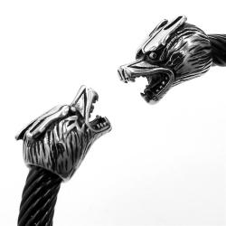 Edelstahlarmreif - Wolf - für Frauen (Schwarz)
