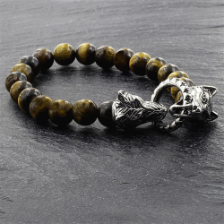 "Tigerauge Armband mit Ring ""Wolfsköpfe"""
