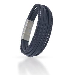 Echt Leder Armband Schwarz geflochtene Multi Bänder...