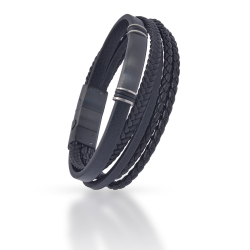 Echt Leder Armband - Schwarz geflochtene Multi...