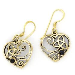 Bronze Herz Ohrhänger mit Onyx Stein