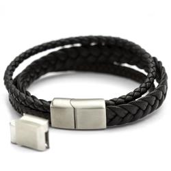 Echt Leder Armband Schwarz & braun geflochtene Multi...
