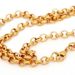 5 mm Edelstahlkette Erbskette 55 cm - PVD-GOLD