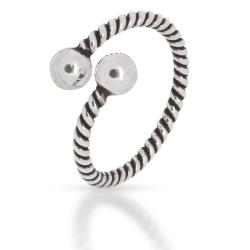 925 Sterling Silberring - Spirale mit Silberkugeln