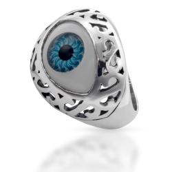 """925 Sterling Silberring - Starrendes Auge """"Blau"""""""