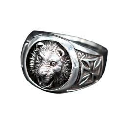 925 Sterling Silberring - Löwe mit eisernem Kreuz