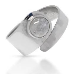 925 Sterling Silberring -  Mondstein 10mm 64 (20,4...