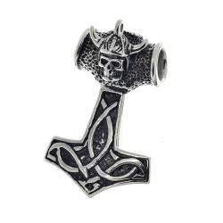Edelstahlanhänger Thors Hammer mit Totenkopf