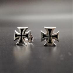 Silberohrstecker - Eisen Kreuz