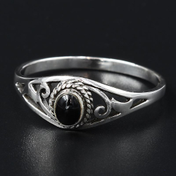 """925 Sterling Silberring - """"Florence"""" Onyx"""