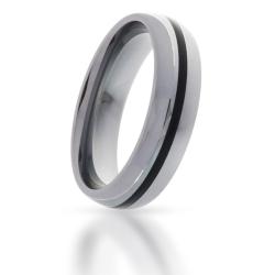 Wolfram-Ring mit Black-Inlay 1 Streifen
