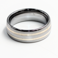 Wolfram-Ring mit Silberinlay 2 Streifen 9mm