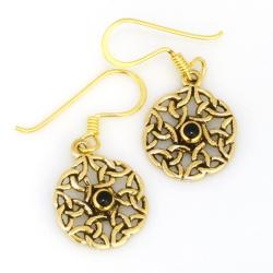 Bronze Ohrringe keltischer Knoten mit Onyx