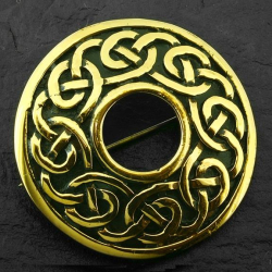 Bronze Brosche - Kreis mit Muster