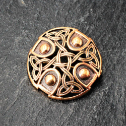 Bronze Brosche - rund mit Muster