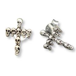 Silberohrstecker - Kreuz / Totenköpfe