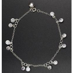 925 Sterling Silber Fußkettchen - Weiße...