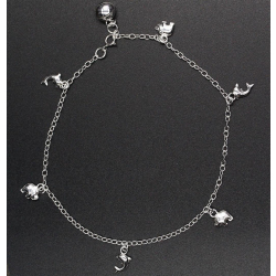 925 Sterling Silber Fußkettchen - Elefanten &...