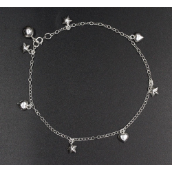 925 Sterling Silber Fußkettchen - Herzen und Sterne