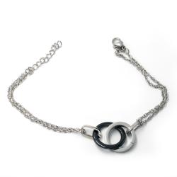 Edelstahlarmband - Keramikanhänger Ring