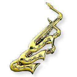 Bronze Brosche - Saxophone