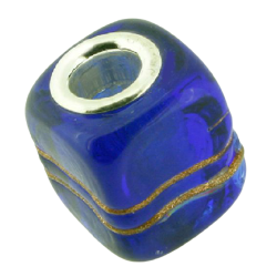 K Bead mit Sterlingsilber - dunkel blau mit goldenen linien
