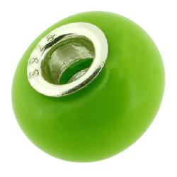 K Bead mit Sterlingsilber - grün