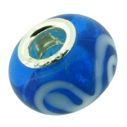 K Bead mit Sterlingsilber - blau mit weiß
