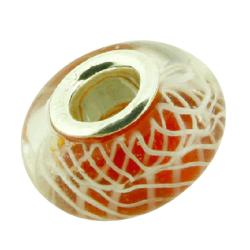 K Bead versilbert -  orange mit weißen Streifen