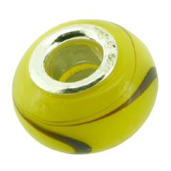 K Bead versilbert -  gelb mit braunem Streifen