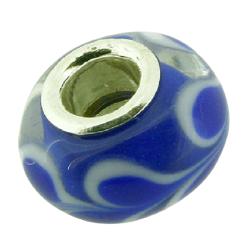K Bead versilbert -  blau mit weißen verschwommenen...