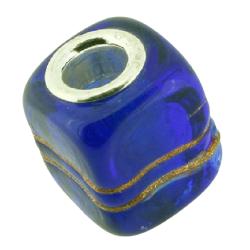 K Bead versilbert -  blau mit goldener schlangenlinie