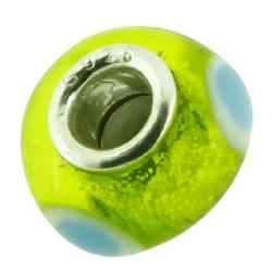 K Bead versilbert -  grün mit weiß-blauen Punkten