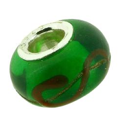 K Bead versilbert -  grün mit glodenen Schlangenlinien