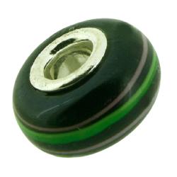 K Bead versilbert -  schwarz mit grün und rosa Streifen